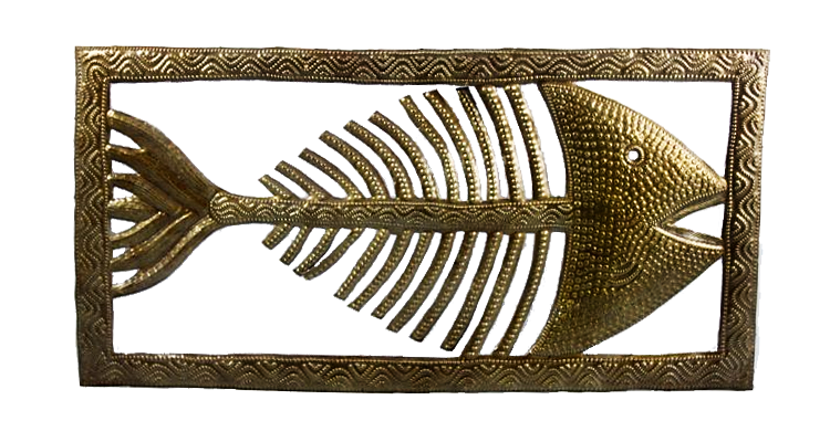 fish bones recycled metal art from Haiti