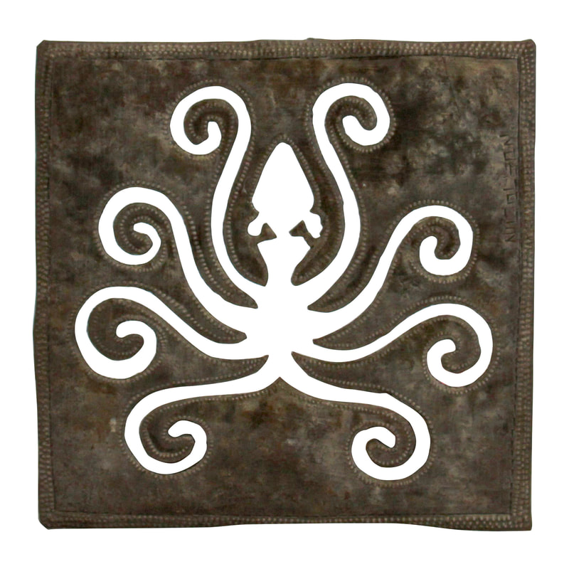 octopus art recycled metal art